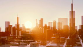 Sunrise over Chicago city skyscrapers time lapse vector illustration