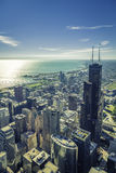 Sunrise over Chicago financial district- aerial Royalty Free Stock Photo