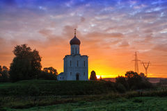 Sunrise over Church of the Intercession of the Holy Virgin on Nerl River Royalty Free Stock Images