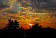Sunrise Over City Stock Photography