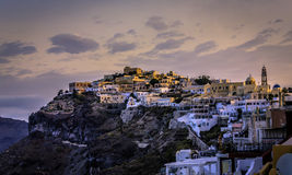 Sunrise over city of Fira, Santorini Island Royalty Free Stock Photo