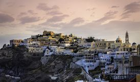 Sunrise over city of Fira, Santorini Island Royalty Free Stock Photography