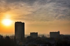 Sunrise over the city. Stock Photo