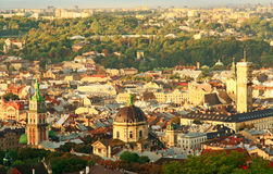 Sunrise over the city of Lviv. Royalty Free Stock Images