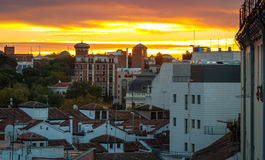 Sunrise over the city of Madrid. Stock Images