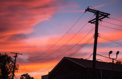 Sunrise Over City Power Lines Royalty Free Stock Images