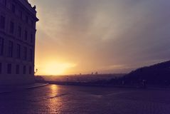 Sunrise over the city of Prague; retro Instagram style Stock Photography