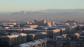 Sunrise over the city. Real time. Urban cityscape. Royalty Free Stock Images