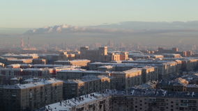 Sunrise over the city. Time lapse. Urban cityscape. Royalty Free Stock Photography