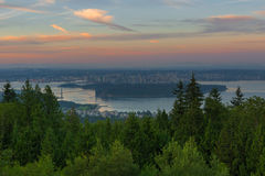Sunrise over City of Vancouver BC Canda Stock Photography