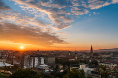 Sunrise over Cluj. Beautiful sunrise over the romanian city, Cluj-Napoca Stock Photos