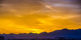 Sunrise over colorado mountains Stock Photo