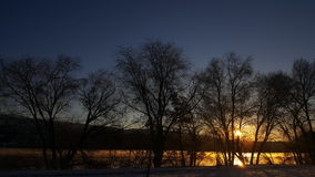 Sunrise over the Columbia River. Sunrise reflecting through the trees on the water of the Columbia Stock Image