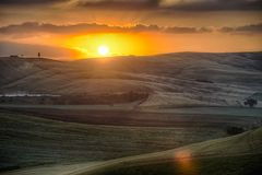 Sunrise over the Crete Senesi Royalty Free Stock Images