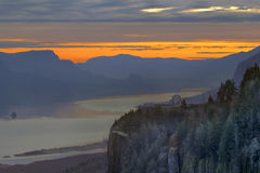 Sunrise Over Crown Point. At Columbia River Gorge Stock Image