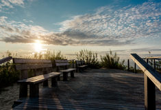 Sunrise over the Curonian spit. In Nida resort town. Neringa, Lithuania. It is a UNESCO World Heritage Site stock photos
