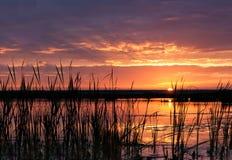 Sunrise over dam Stock Images