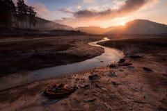 Sunrise over dam Shiroka polyana Royalty Free Stock Photo