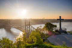 Sunrise over Danube river and Freedom bridge in Budapest Royalty Free Stock Photos