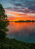 Sunrise Over Detroit River Stock Image