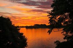 Sunrise Over Detroit River Royalty Free Stock Photos