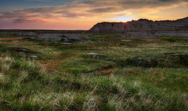 Sunrise over Dewy Grasses in the Badlands Stock Image