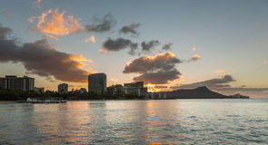 Sunrise over Diamond Head from Waikiki Hawaii Stock Photos