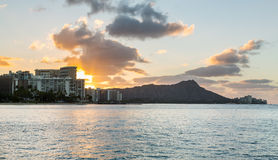 Sunrise over Diamond Head from Waikiki Hawaii Stock Images