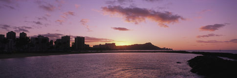 Sunrise over Diamond Head, Waikiki, Oahu Island, Hawaii, USA Stock Photography
