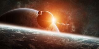 Sunrise over distant planet system in space 3D rendering element Stock Image
