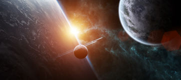 Sunrise over distant planet system in space 3D rendering element Stock Photo