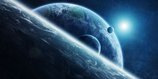Sunrise over distant planet system in space 3D rendering element Royalty Free Stock Photography