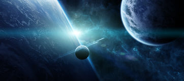 Sunrise over distant planet system in space 3D rendering element Royalty Free Stock Photo