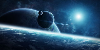 Sunrise over distant planet system in space 3D rendering element Stock Images