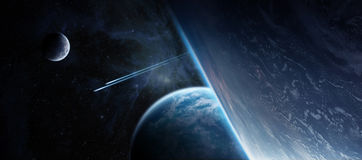 Sunrise over distant planet system in space 3D rendering element Royalty Free Stock Image