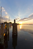 Sunrise over the dock. Annapolis, Maryland Royalty Free Stock Photography