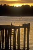 Sunrise over dock in Mount Desert Island, ME Stock Photo