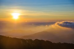 Sunrise over the Doi Inthanon National Park in Chiang Mai, Thail Royalty Free Stock Image
