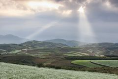 Sunrise over DongChuan red land, one of the landmarks in Yunnan Province, China Stock Photo