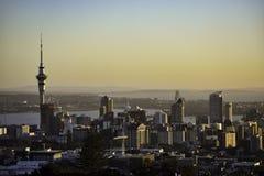 Sunrise over downtown Auckland stock photos