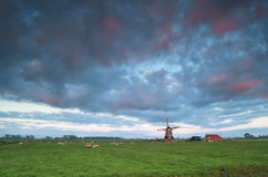Sunrise over Dutch windmill Stock Images
