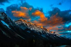 Sunrise over early snow in K Country. Sunrise over early snow in Kananaskis Country on the way to Banff National Park Stock Image