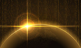 Sunrise over the Earth in cyberspace. stock illustration