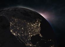 Sunrise over the Earth - North America. Elements of this image furnished by NASA. 3d illustration Royalty Free Stock Images