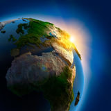 Sunrise over the Earth in outer vector illustration