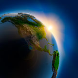 Sunrise over the Earth in outer Stock Photography