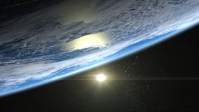 Sunrise over the Earth. The sun above the horizon of the Earth. The horizon of the Earth turned left at the top. Realistic atmosph. Beautiful Sunrise over the Stock Photography