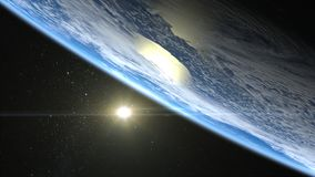 Sunrise over the Earth. The sun above the horizon of the Earth. The horizon of the Earth turned right up. Realistic atmosphere. Vo. Beautiful Sunrise over the Stock Image
