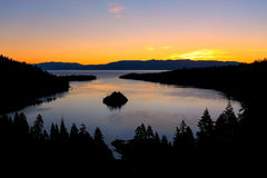 Sunrise over Emerald Bay at Lake Tahoe, California, USA. Lake Tahoe is the largest alpine lake in North America Stock Photo