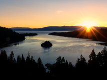 Sunrise over Emerald Bay at Lake Tahoe, California, USA. Lake Tahoe is the largest alpine lake in North America Stock Image